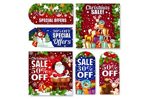Christmas sale tag and New Year discount card