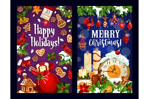 Christmas card of New Year midnight clock and gift