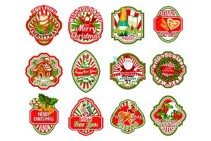 Merry Christmas wish vector greeting icons