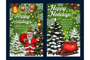 Winter holidays vector Santa sketch greeting card