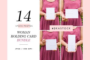 14 Woman Holding Card Mockup - BDL5