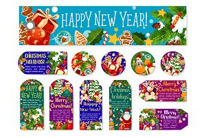 Christmas New Year wish greeting vector tags