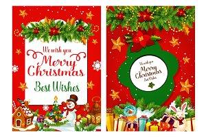 Merry Christmas wish holiday vector greeting card