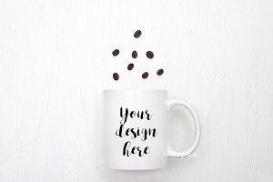 White Coffee Mug Mockup coffee beans