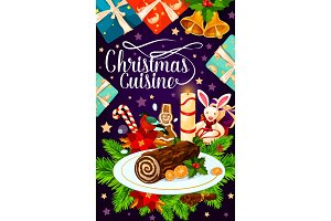 Christmas holiday gift and cake greeting card