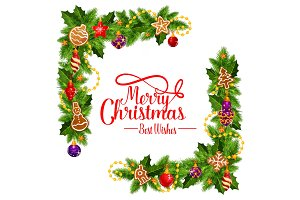 Merry Christmas vector frame wreath