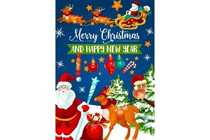 Christmas Santa sleigh with gift greeting card