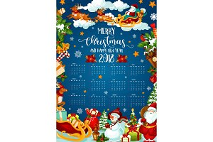 Christmas holiday calendar of 2018 New Year design
