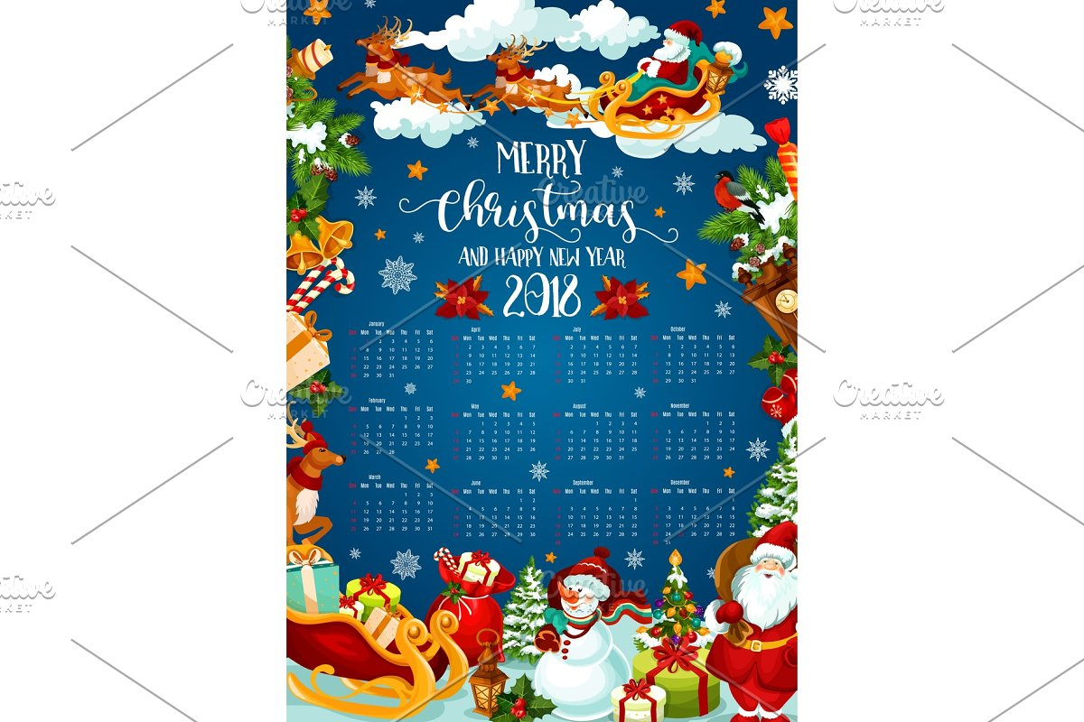 e9ebc9d19185f Christmas holiday calendar of 2018 New Year design ~ Illustrations ...
