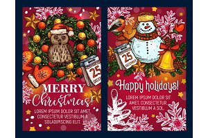Christmas holiday sketch vector greeting card