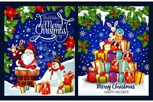 Merry Christmas Santa present vector greeting card