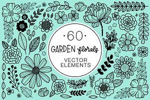 60 Garden Florals Vector Elements