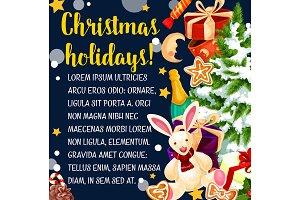 Merry Christmas holiday vector greeting card