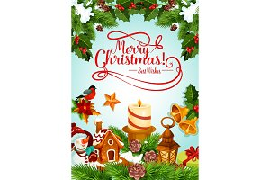 Christmas holiday candle and Xmas tree card design