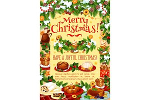Christmas dinner greeting banner with turkey, cake