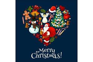 Merry Christmas holiday heart shape