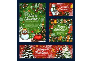 Merry Christmas holiday vector sketch greeting