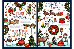 Merry Christmas wish vector sketch greeting card