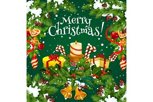 Merry Christmas vector Santa gifts greeting card