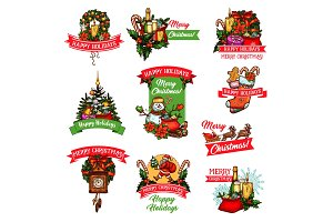 Christmas winter holiday or New Year festive badge