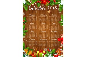 Calendar template of New Year with Xmas wreath