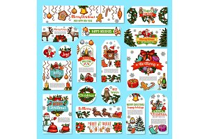 Christmas holidays wishes vector greeting cards