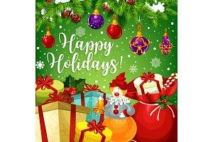 Happy winter holidays wish vector greeting card