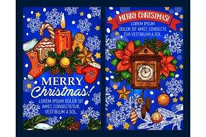 Christmas holiday vector sketch greeting card