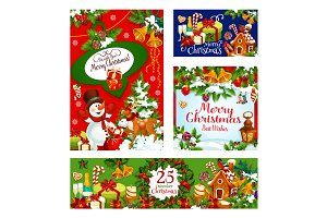 Merry Christmas vector celebration greeting cards