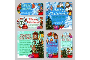 Christmas and New Year holiday gift tag and card