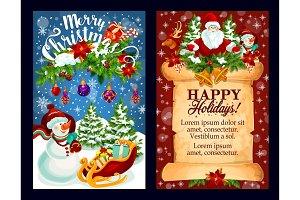 Christmas holiday card of Santa, gift and snowman