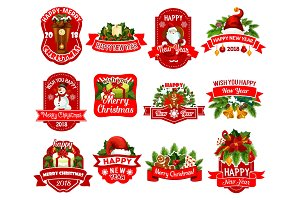 Christmas and New Year holidays gift label design