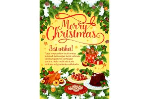 Christmas dinner banner with Xmas cuisine dishes