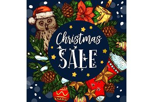 Christmas holiday sale gift vector sketch poster