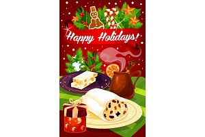 Christmas and New Year dinner festive poster
