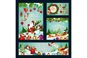 Christmas holiday card of Santa, gift and snowman