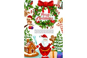 Christmas greeting card of gift, wreath and Santa