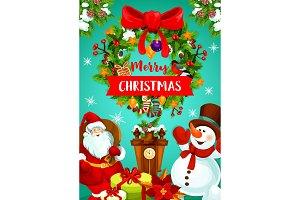 Christmas wreath, gift and Santa greeting banner