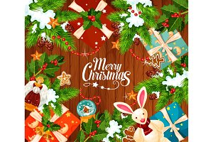 Christmas winter holidays vector greeting card