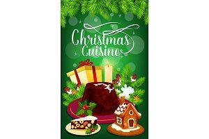 Christmas pudding and gift greeting card design