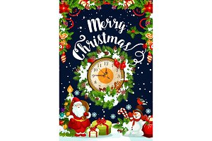 Christmas wreath with New Year gift and clock card