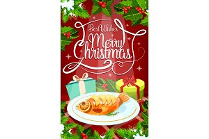 Christmas Eve dinner banner with gift and fish