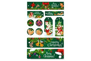 Merry Christmas vector greeting card tag banner
