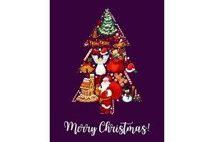 Merry Christmas tree wish .greeting card