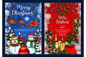 Christmas greeting vector sketch greeting card