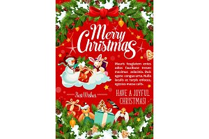 Merry Christmas holidays vector greeting card