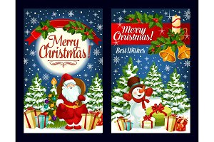 Merry Christmas Santa gifts vector greeting card