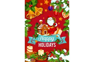 Christmas and New Year holidays greeting card