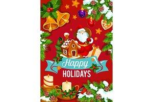 Christmas and New Year holidays greeting card