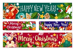 Christmas New Year holidays vector greeting banner